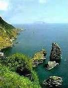 Der Blick von Flores auf Corvo, Azoren