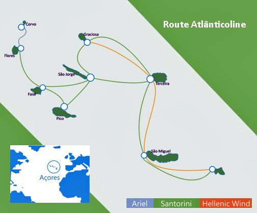 Übersicht des Streckenplans der Fähren innerhalb des Azorenarchipels