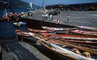 Die alten Walfängerboote werden für die Regatta vorbereitet, Pico/Azoren