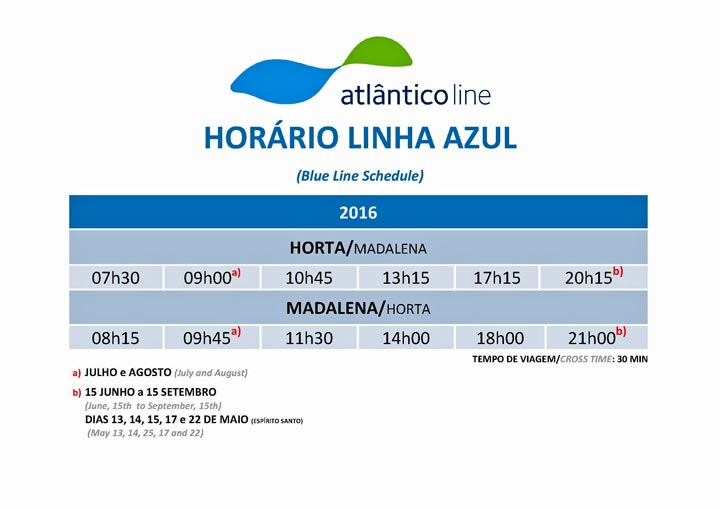 Fahrverbindung innerhalb der Azoren zwischen Faial und Pico
