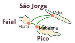 Das azoreanische Triangulo besteht aus den Inseln Faial, Sao Jorge und Pico, Azoren